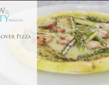 One Minute Video Recipe: Cheesy Portobello Pesto Passover Pizza
